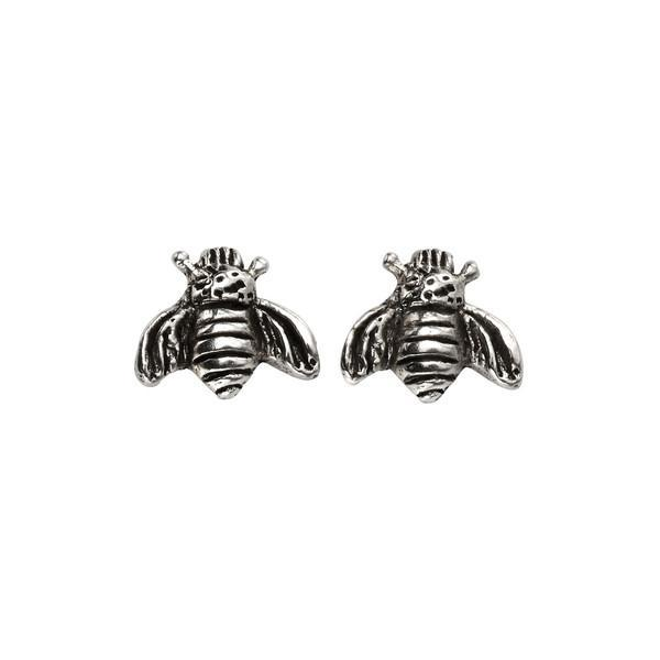 Bee Oxidised Silver Stud Earrings-VAVOO