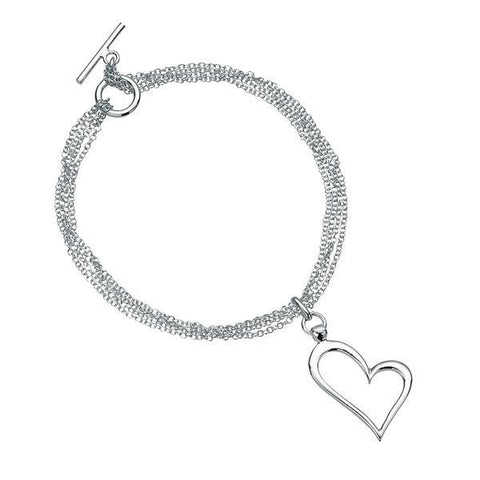 Open Heart Multi Chain T-Bar Silver Bracelet-VAVOO