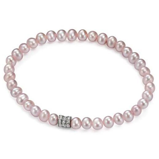 Clear CZ Silver Rondels Pink Pearl Bracelet-VAVOO