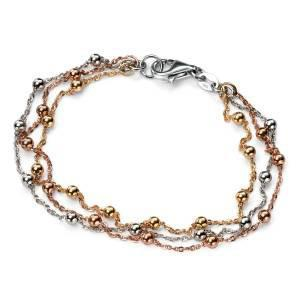Beaded Rose Gold, Gold and Silver Chains Bracelet-VAVOO
