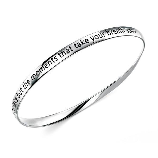 """Moments"" Twisted Silver Bangle-VAVOO"