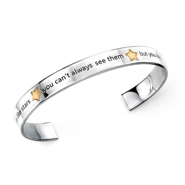 "Gold Plate Star ""Friends"" Open Silver Bangle-VAVOO"
