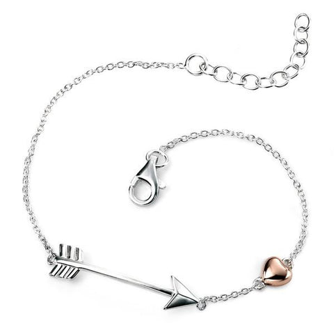 Rose Gold Plated Heart & Arrow Silver Bracelet-VAVOO