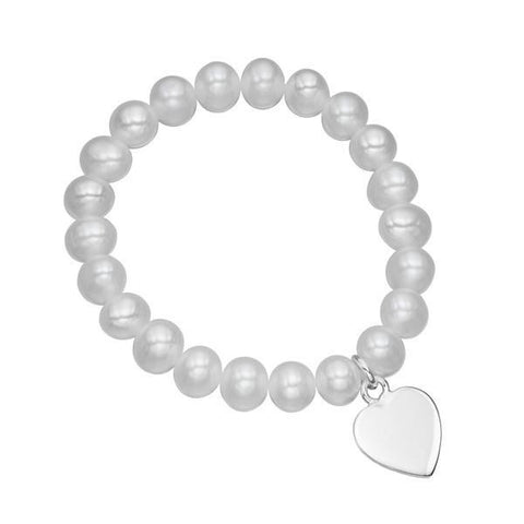 Childrens Pearl & Heart Tag Silver Bracelet-VAVOO