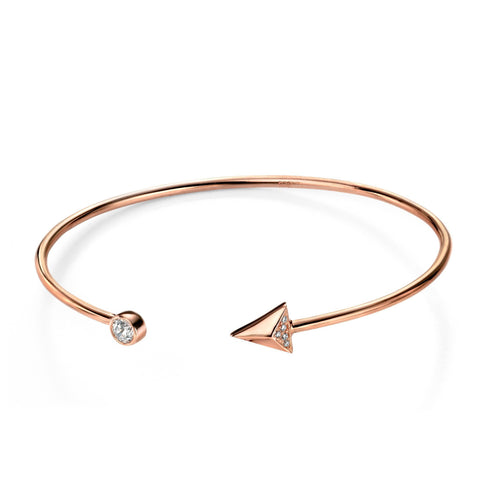 Clear CZ Arrow Rose Gold Plated Silver Open Bangle-VAVOO