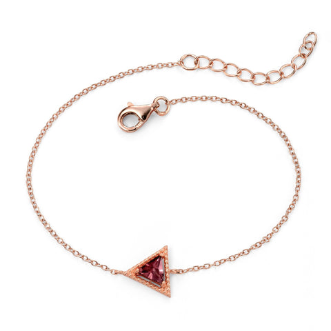 Purple CZ Triangle Rose Gold Plated Silver Bracelet-VAVOO