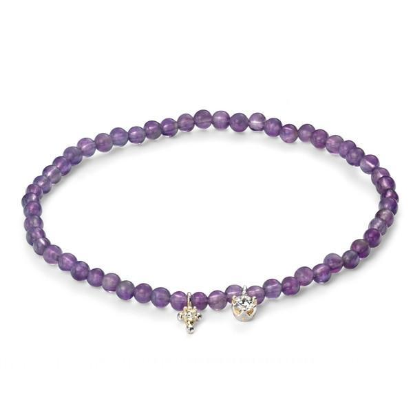 Amethyst Bead And Clear CZ Silver Bracelet-VAVOO