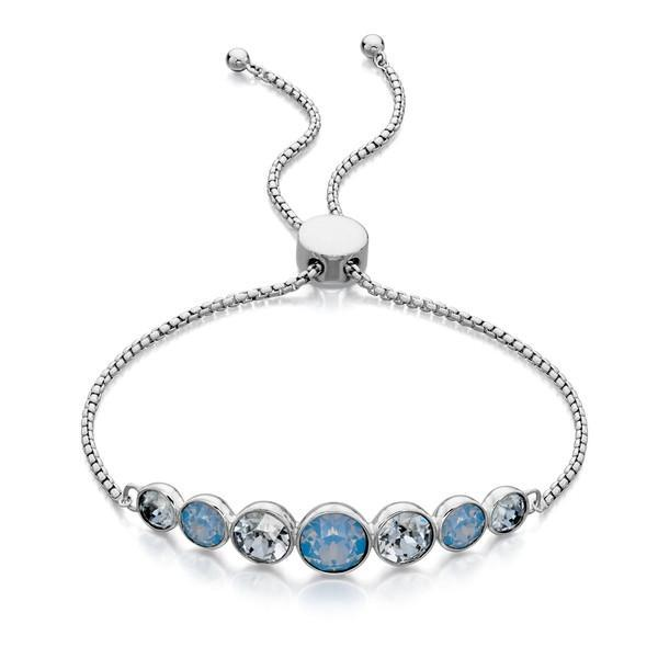 Blue Opal And Denim Blue Swarovski Silver Bracelet-VAVOO