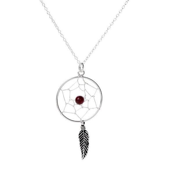 Brown Bead Dreamcatcher Silver Necklace-VAVOO