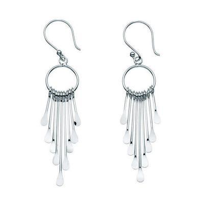 Cascade Drop Silver Earrings-VAVOO