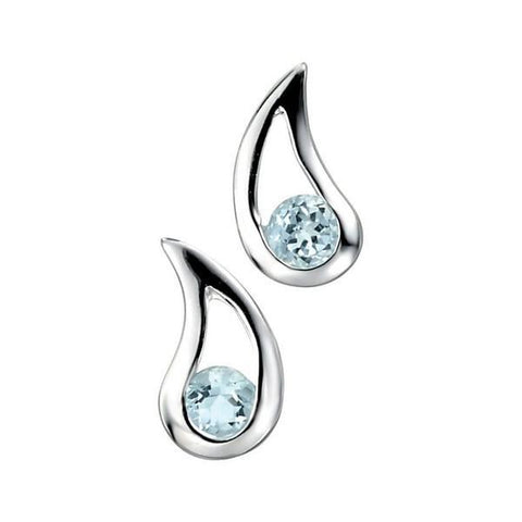 Blue Topaz CZ Teardrop Silver Earrings-VAVOO