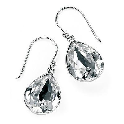 Clear Swarovski Crystal Teardrop Silver Earrings-VAVOO