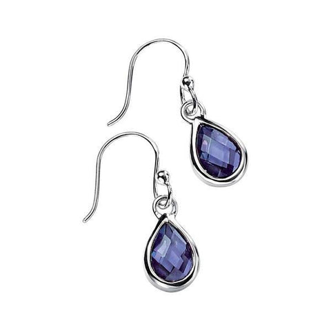 Amethyst CZ Teardrop Silver Earrings-VAVOO