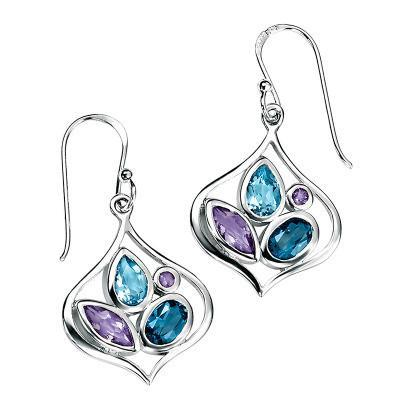 London Blue Topaz & Amethyst Open Silver Earrings-VAVOO