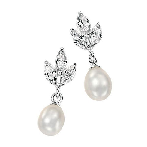 White Freshwater Pearl & Clear CZ Marquise Silver Earring-VAVOO