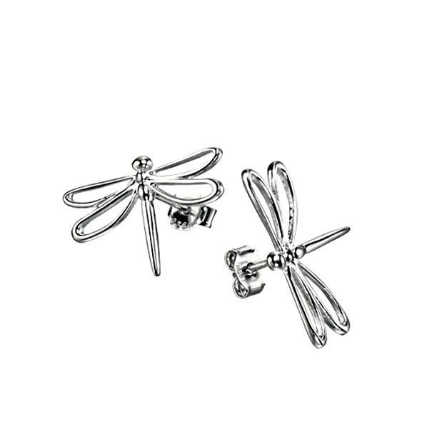 Openwork Dragonfly Silver Stud Earrings-VAVOO