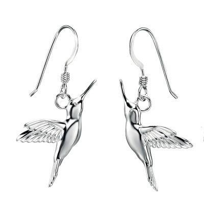 Hummingbird Silver Drop Earring-VAVOO