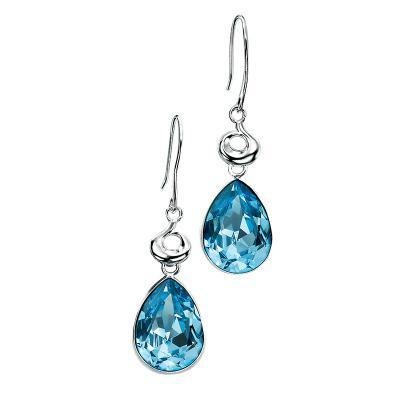 Aquamarine Swarovski Crystal Teardrop Silver Earrings-VAVOO