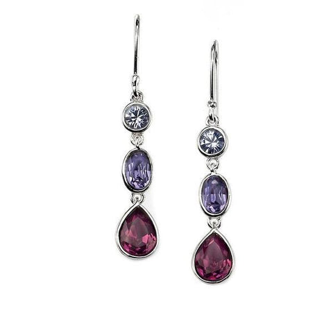 Amethyst, Saphire & Tanzanite Swarovski Silver Earrings-VAVOO