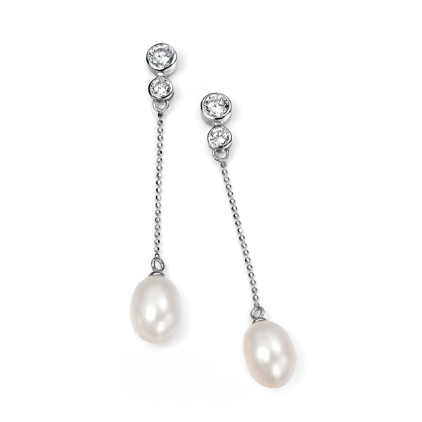Freshwater Pearl Chain Silver Earrings-VAVOO