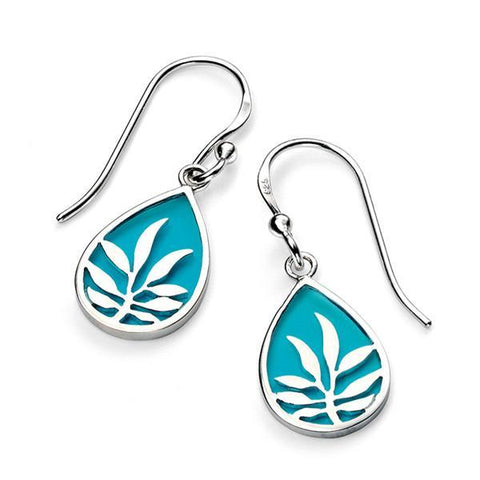 Blue Enamel Teardrop Silver Earrings-VAVOO