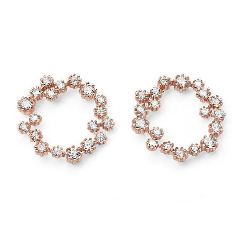 CZ Circle Rose Gold Plated Silver Earrings-VAVOO