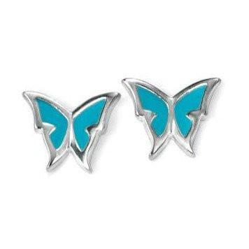Blue Enamel Butterfly Silver Earrings-VAVOO