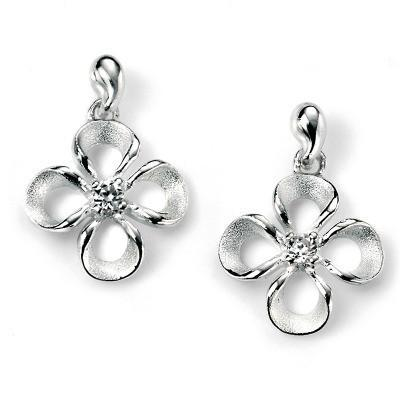 Flower With Clear CZ Silver Earrings-VAVOO