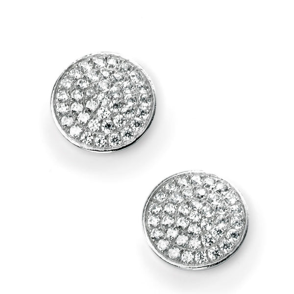 CZ Pave Disc Silver Stud Earrings-VAVOO