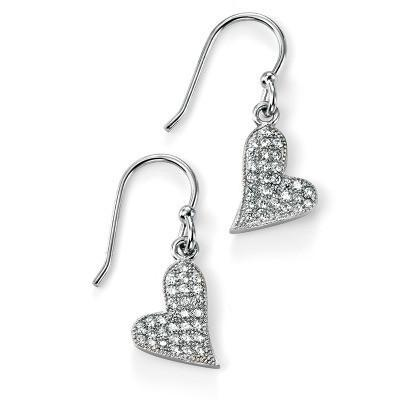 Clear CZ Pave Heart Drop Earring-VAVOO