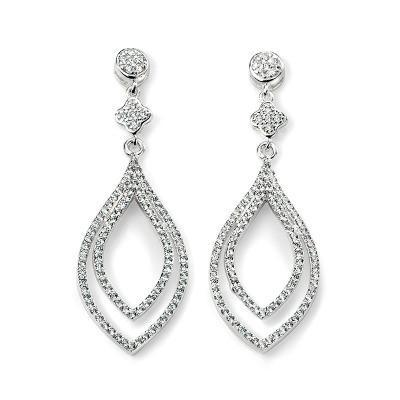 Double Clear CZ Lantern Shape Silver Earring-VAVOO