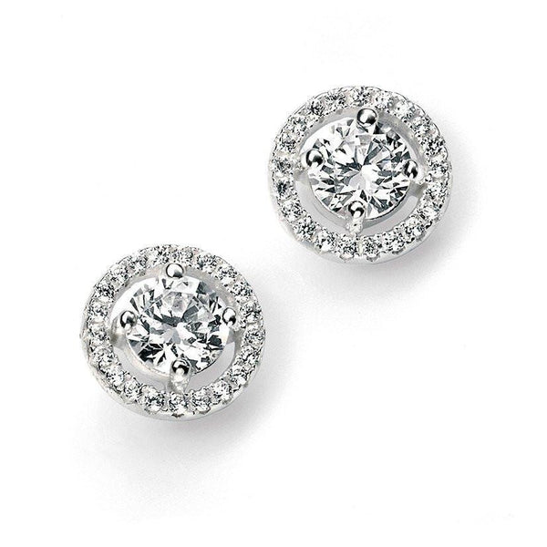 Pave Disc Clear Round CZ Silver Stud Earrings-VAVOO