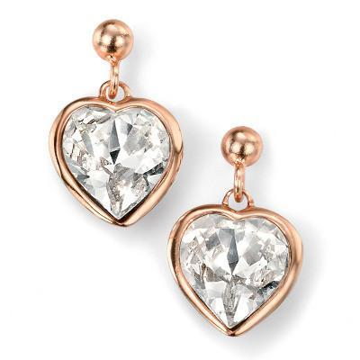 Clear Swarovski Crystal Heart Rose Gold Plated Silver Earrings-VAVOO