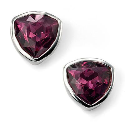 Amethyst Swarovski Crystal Triangle Silver Stud Earrings-VAVOO
