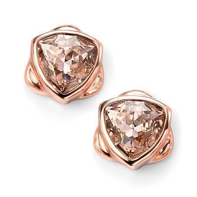 Vintage Rose Swarovski Crystal Rose Gold Plated Silver Stud Earrings-VAVOO