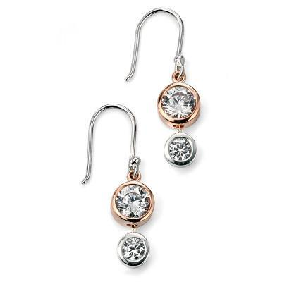 Double CZ Rose Gold Plated Silver Drop Earring-VAVOO