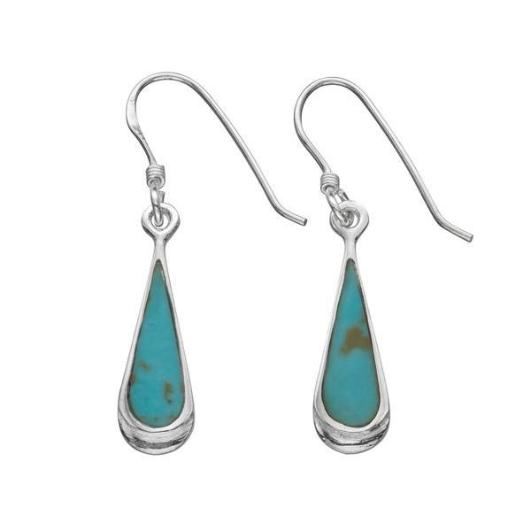 Teardrop Turquoise Silver Earrings-VAVOO