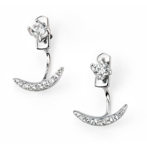 Clear Cz Half Moon Ear Jacket Silver Earrings-VAVOO