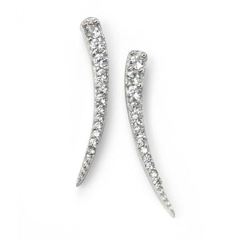 Clear CZ Curved Bar Silver Earrings-VAVOO