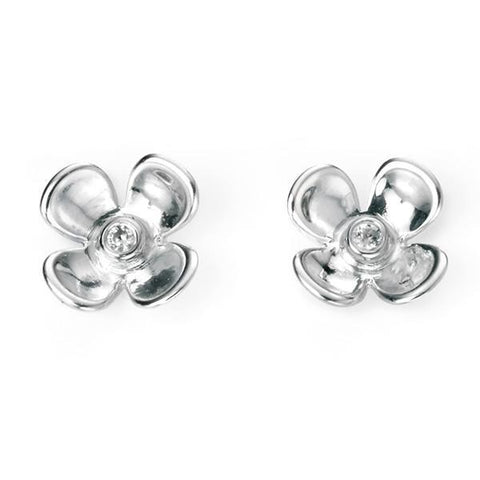 CZ Flower Silver Stud Earrings-VAVOO