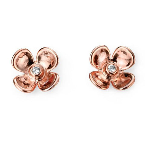 CZ Flower Rose Gold Plated Silver Stud Earrings-VAVOO