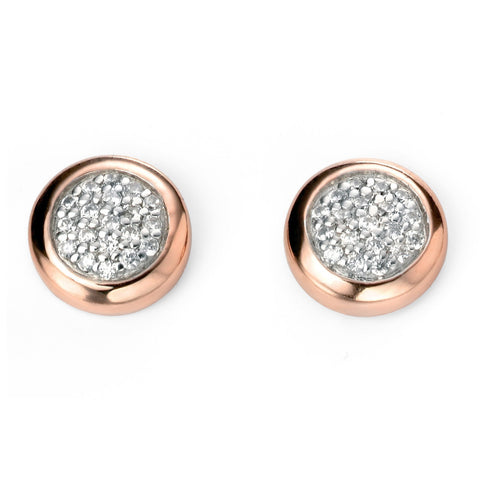 Pave Rose Gold Silver Earrings-VAVOO