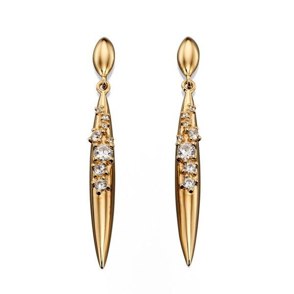 Gold Plated CZ Silver Earrings-VAVOO