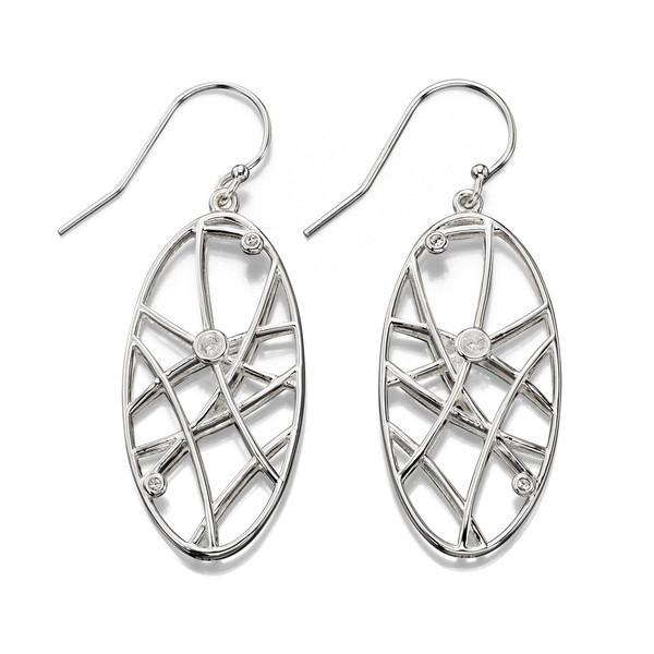 Open Work Stone Set Silver Earrings-VAVOO