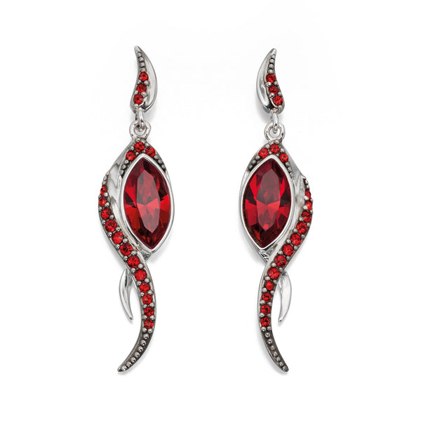 Red Swarovski Long Flame Silver Earrings-VAVOO