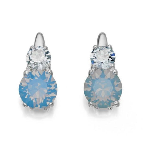 Blue Opal And Denim Blue Swarovski Silver Earrings-VAVOO