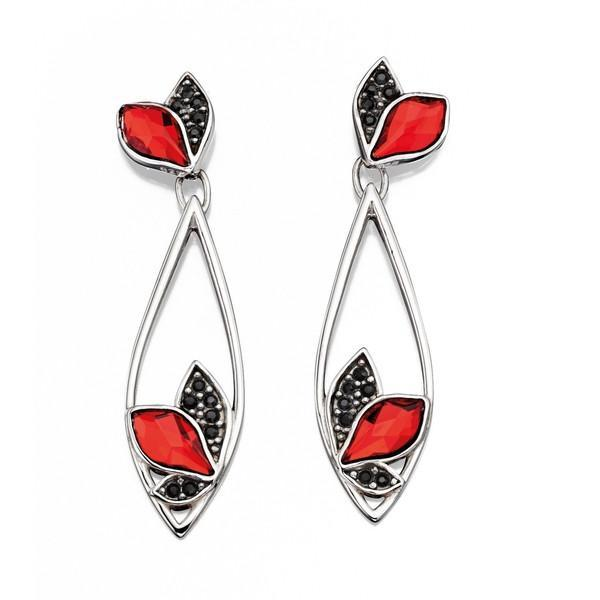 Flame Red And Black Drop Silver Earrings-VAVOO