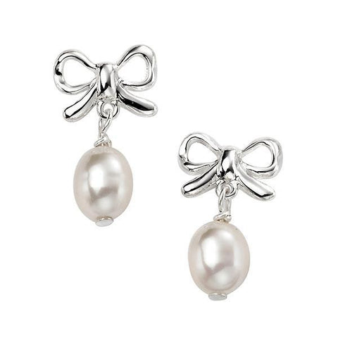 Bow Pearl Silver Earrings-VAVOO