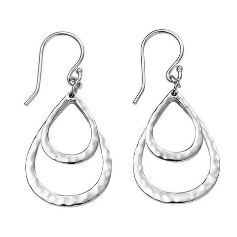 Hammered Double Teardrop Silver Earrings-VAVOO