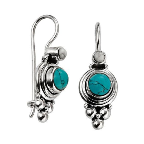 Turquoise Oxidised Silver Earrings-VAVOO